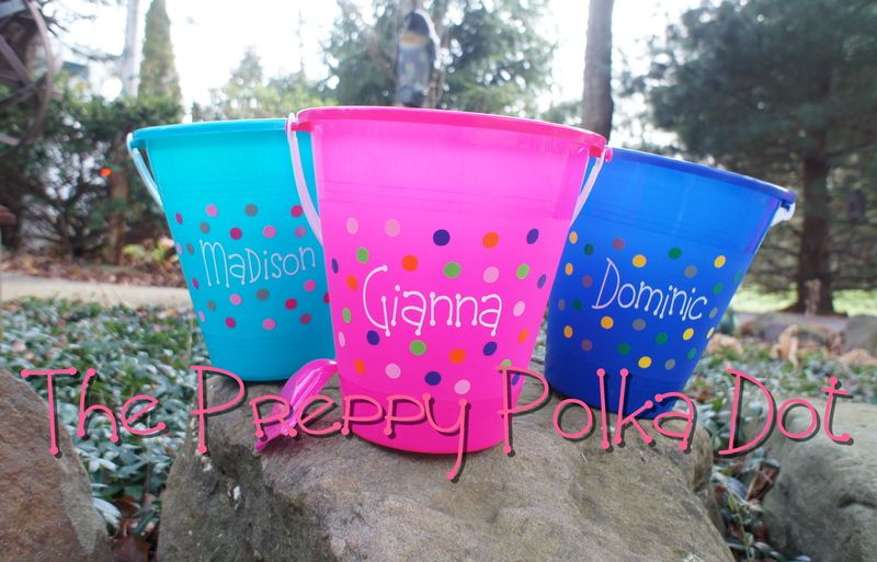 Personalized Polka Dot Sand Pail Bucket