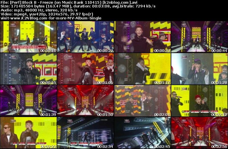 [Perf] Block B   Freeze (on Music Bank 110415)